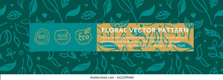 Floral pattern with seamless hand drawn ornaments. Healthy food badge. Natural food label tag design. Vector logo design template and emblem for bio chocolate, coffee shop, eco banner. Green concept.