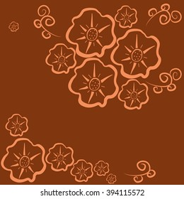 Floral pattern seamless. Orange flowers on a dark orange background. Vector illustration.