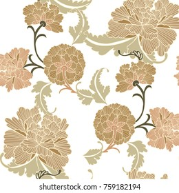 Floral pattern seamless vector. Chinese flower background for textile, card, poster.
