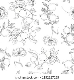 Floral pattern seamless wiyh fruits. Vector stock.