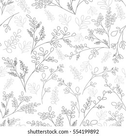 Floral pattern of small plants and leaves. Simple background. The contours of the flowers Black on white color Vector seamless patter scrapbooking idea Shabby Chic