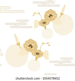Floral pattern vector. Gold Japanese background. Morning glory flower, wave and cloud elements.