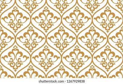 Floral pattern. Vintage wallpaper in the Baroque style. Seamless vector background. White and gold ornament for fabric, wallpaper, packaging. Ornate Damask flower ornament
