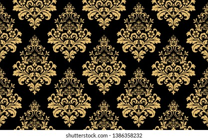 Floral pattern. Vintage wallpaper in the Baroque style. Seamless vector background. Gold and black ornament for fabric, wallpaper, packaging. Ornate Damask flower ornament