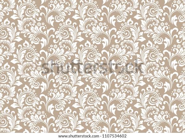 Floral Pattern Vintage Wallpaper Baroque Style