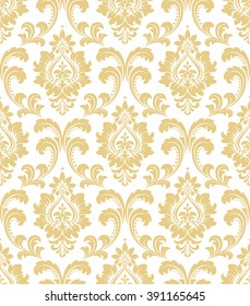 Floral pattern. Wallpaper baroque, damask. Seamless vector background. White and gold ornament.