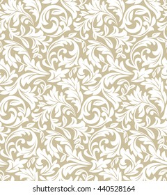 Floral pattern. Wallpaper baroque, damask. Seamless vector background. White and beige ornament.