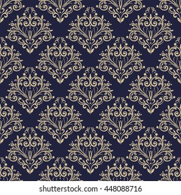 Floral pattern. Wallpaper baroque, damask. Seamless vector background. Gold and black blue ornament. Stylish graphic pattern.