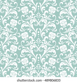 Floral pattern. Wallpaper baroque, damask. Seamless vector background. Blue and white ornament