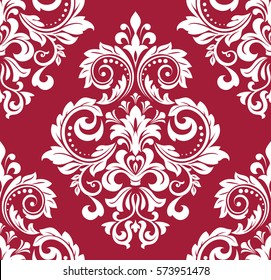 Floral pattern. Wallpaper baroque, damask. Seamless vector background. Red and white ornament. Stylish graphic pattern.