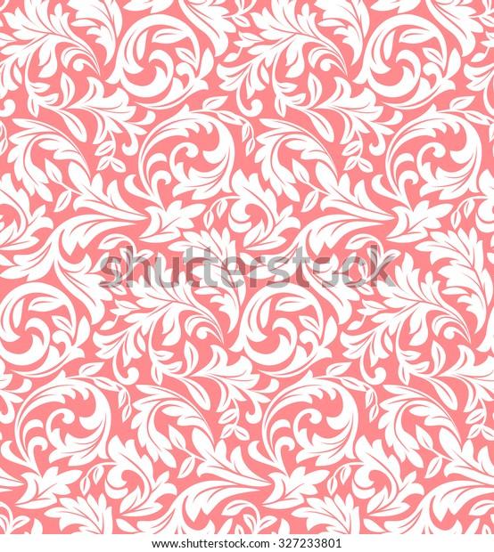 Floral Pattern Wallpaper Baroque Damask Seamless Stock