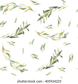 Floral pattern with watercolor leafes