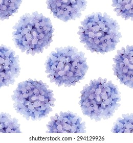 Floral pattern. Watercolor vector seamless background. Violet hydrangea