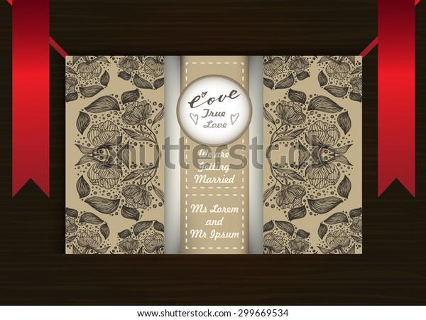 Floral Pattern Wedding Invitation Card Mockup Stock Image