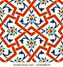 Floral pattern for your design. Traditional Turkish – Ottoman seamless ornament. Iznik. Vector background
