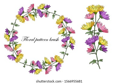 Floral patterned brush. Vector spring, summer illustration. Branch with blooming bright chrysanthemums, hand-drawn. Frame of flowers. All objects are grouped and isolated. Flower design for decoration