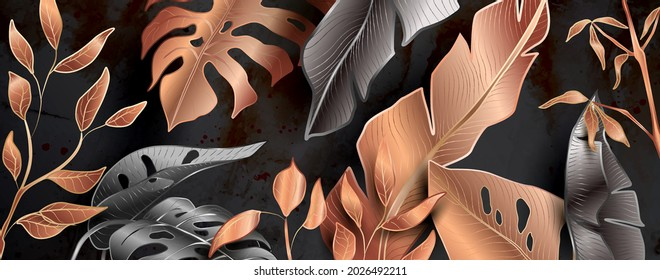 Floral patterns in black and copper metallic colors backdrop for home decor and banners.