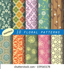 floral pattern's unit collection 1 for making  seamless wallpaper. retro color style, fully editable color and shape. partial preview image.
