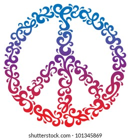 Floral Peace Symbol with a retro design with gradient fill.