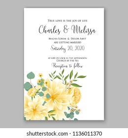 Floral peony sunflower yellow chrysanthemum wedding invitation vector printable card template Bridal shower bouquet flower marriage ceremony wording text