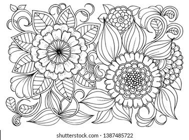 Floral picture in black and white  for adult coloring books. Coloring page of monochrome flowers and leafs. Doodles pattern