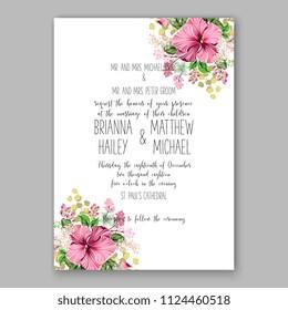 Floral pink hibiscus wedding invitation vector printable card Bridal shower bouquet wreath Aloha Hawaii Luau Tropical flower