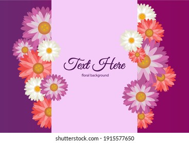 floral pink purpul and white daisy background