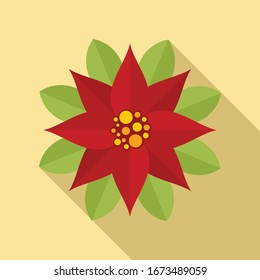 Floral poinsettia icon. Flat illustration of floral poinsettia vector icon for web design