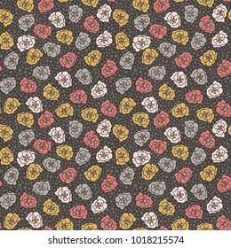 Floral and Polka Dot Seamless Pattern