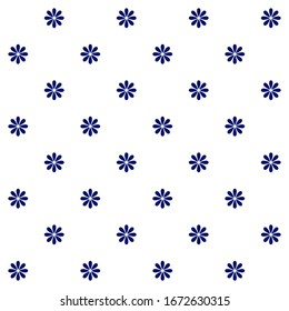 Floral polka dot seamless pattern. Dark blue simple vector flowers with eight petals on white background. Simple vector geometric illustration. Polka dot design for printing on textile, fabric, paper