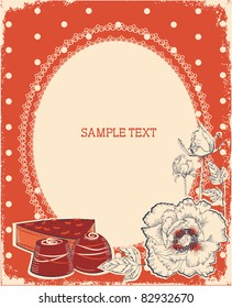 Floral postcard with chocolate sweets .Vector vintage background