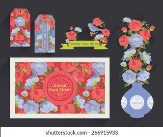 Floral Postcard and tags. Oriental pattern vector design.
