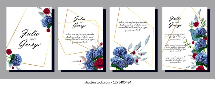 Floral poster, invite. Vector decorative greeting card or invitation design background. Set of cards with flower dew, leaves. The concept of wedding ornament.