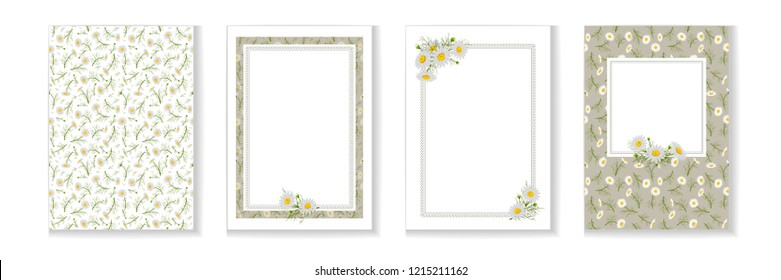 Floral posters, banners, greeting card - camomiles. Festive compositions with wild flowers and textures. Vector illustration.