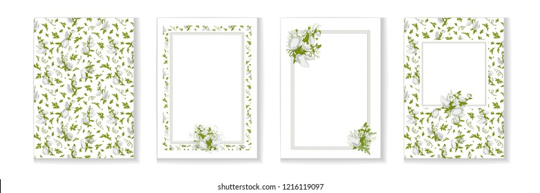 Floral posters, banners, greeting card - white Sweet pea. Festive compositions with flowers, leaves and textures. Vector illustration.