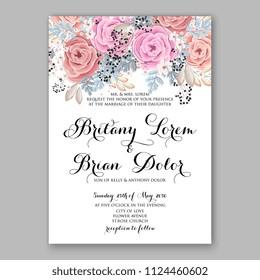 Floral powder blush pink rose wedding invitation vector printable card/ Bridal shower bouquet wreath