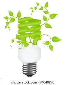 Floral power saving lamp. Isolated on white background. Vector illustration.