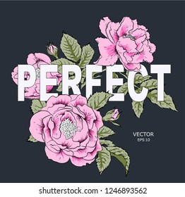 Floral print for clothes. Floral print design with lettering. Greeting card. Vector illustration.