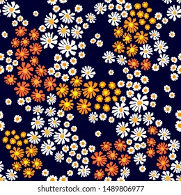 Floral print with colorful daisies and chamomiles. Seamless vector pattern with small flowers on black background. Retro textile collection.