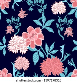 Floral print with Japanese motifs. Seamless vector pattern with abstract peonies and chrysanthemums. Oriental textile collection. On black background.