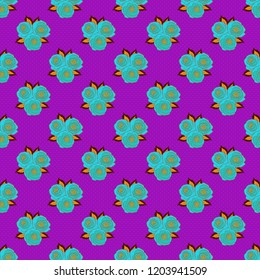Floral print. Repeating vector rose flowers and leaves pattern. Modern motley floral seamless pattern in blue, orange and violet colors.