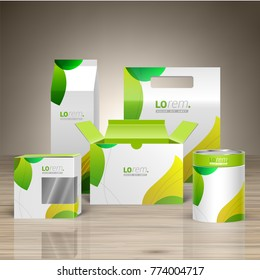 Floral promotional package design for corporate identity with green leaves. Stationery set