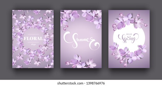 Floral purple background set with soft pink lilac flowers and petals