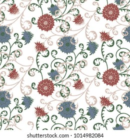 Floral Rapport for Wallpaper or Fabric. Seamless Pattern in Vintage Style with Big Flowers of Michaelmas Daisy or Aster. Natural Ornament on White Background