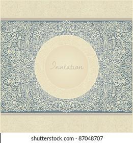floral retro invitation card