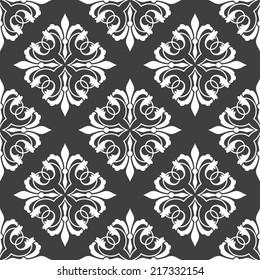 Floral retro ornamental seamless pattern on black colored background