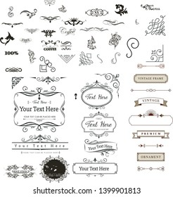 floral Retro vintage heraldic design elements and Beautiful vintage ornaments for tattoo design vector