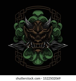 Floral Ronin Samurai Vector illustration Art design for t-shirt poster and other