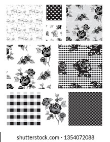 Floral Rose Vector Seamless Patterns and Icons