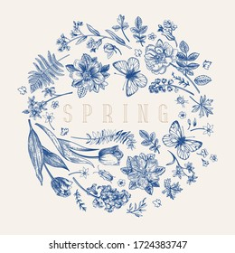 Floral round composition with flowers, butterflies and bugs.  Little garden. Flower ball. Vintage frame. Vector botanical illustration. Blue.